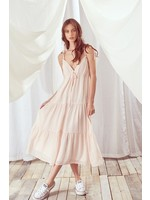 Storia Monochromatic Ruffled Floral Print Midi Dress - BD2058