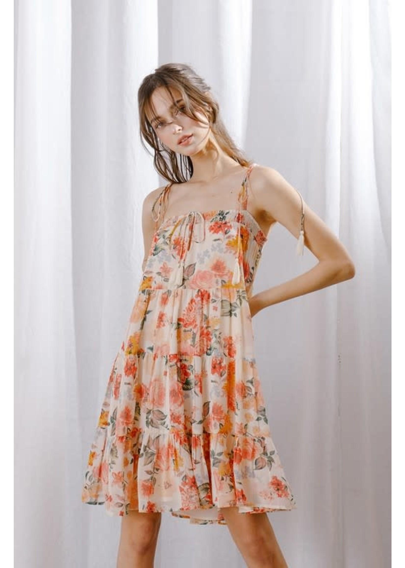 Storia Floral Ruffled Trapeze Strappy Mini Dress - BD2248