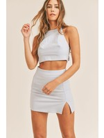 Mable Back Tying Halter Top and Mini Skirt SET - MST7236