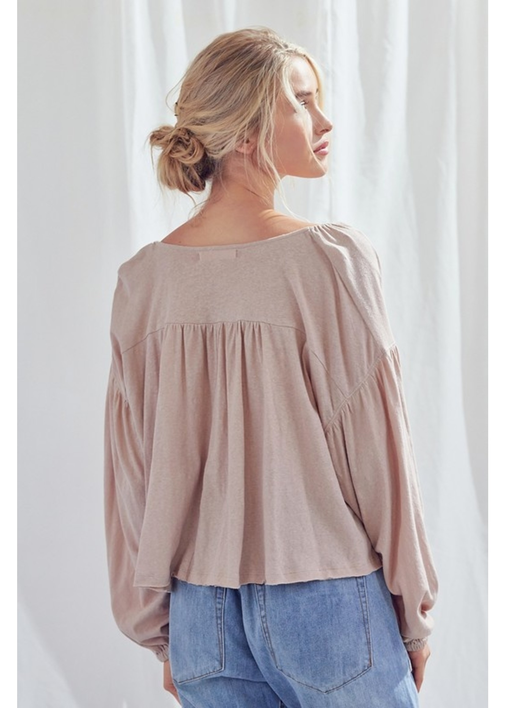 Mustard Seed V-Neck Shirred Top - S18577