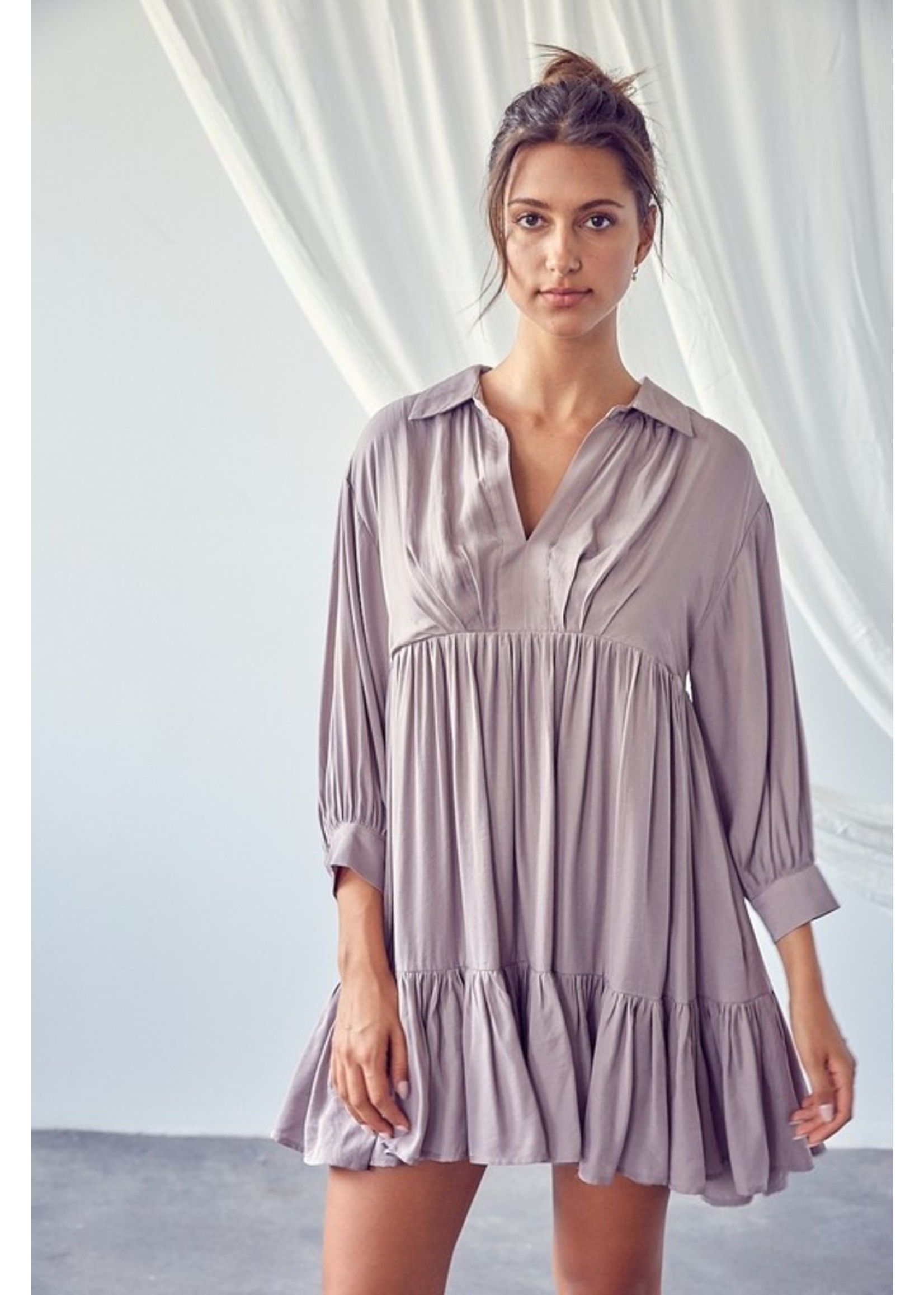 Mustard Seed Flowy Collared Shirt Dress - S17665