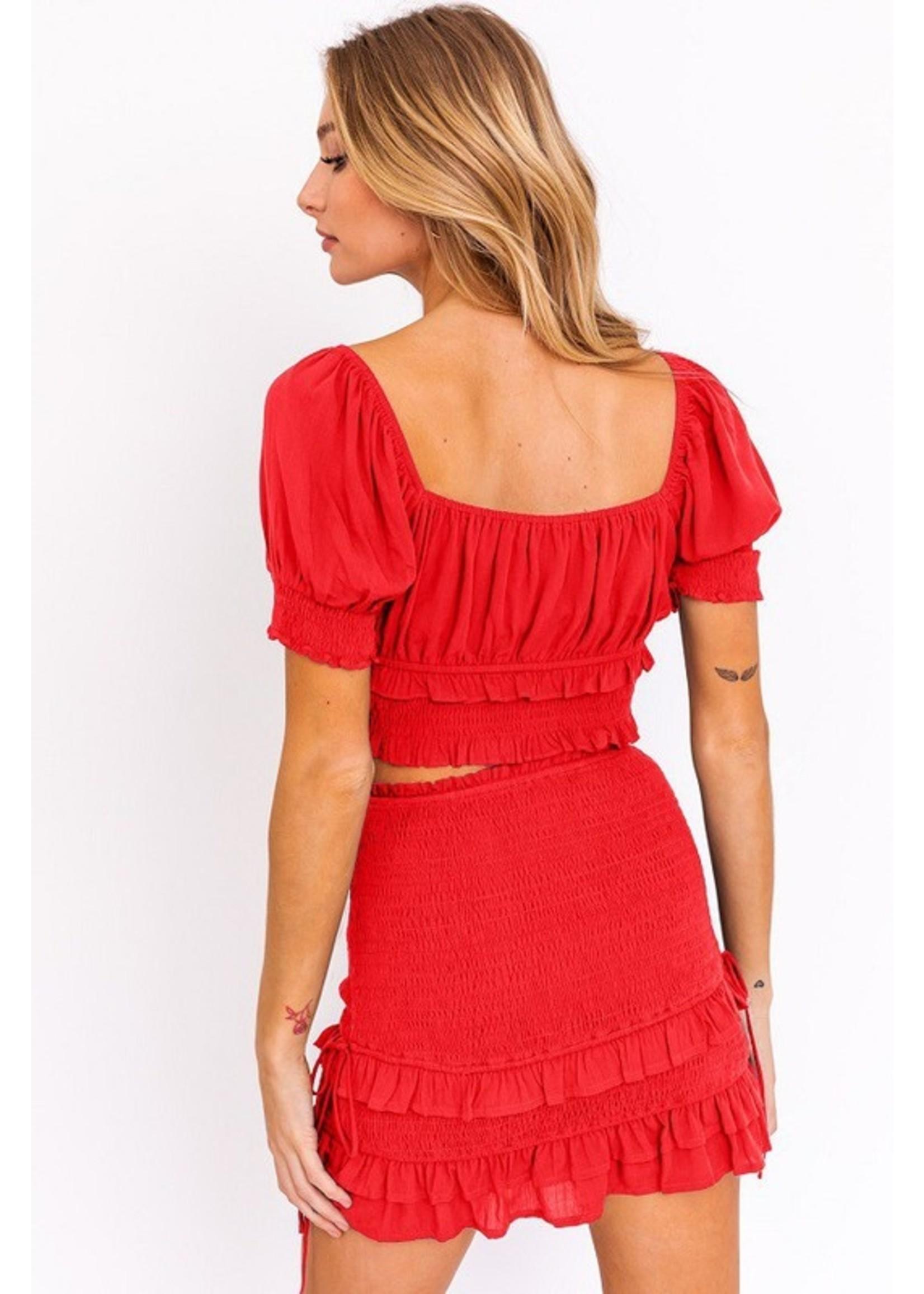 Le Lis Ruffled Detail Smocked Skirt -SS6055-3