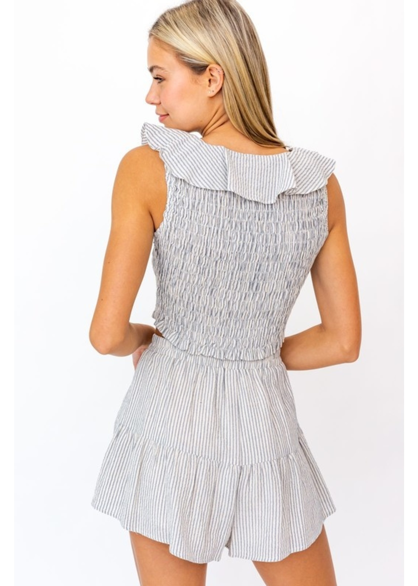 Le Lis Striped Smocked and Ruffled Top - MT4065