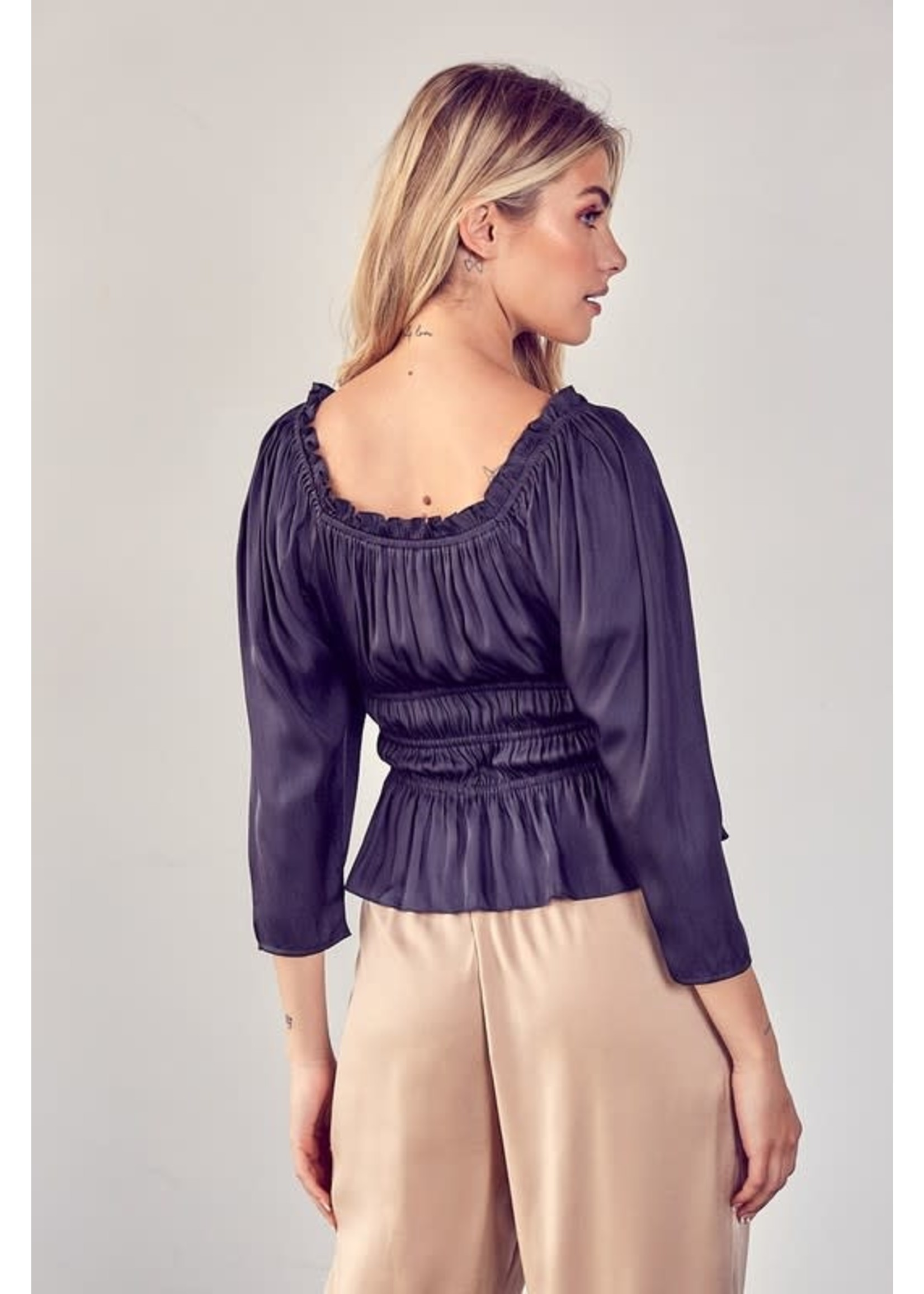 DO + BE Square Neck Ruched Top - Y19235