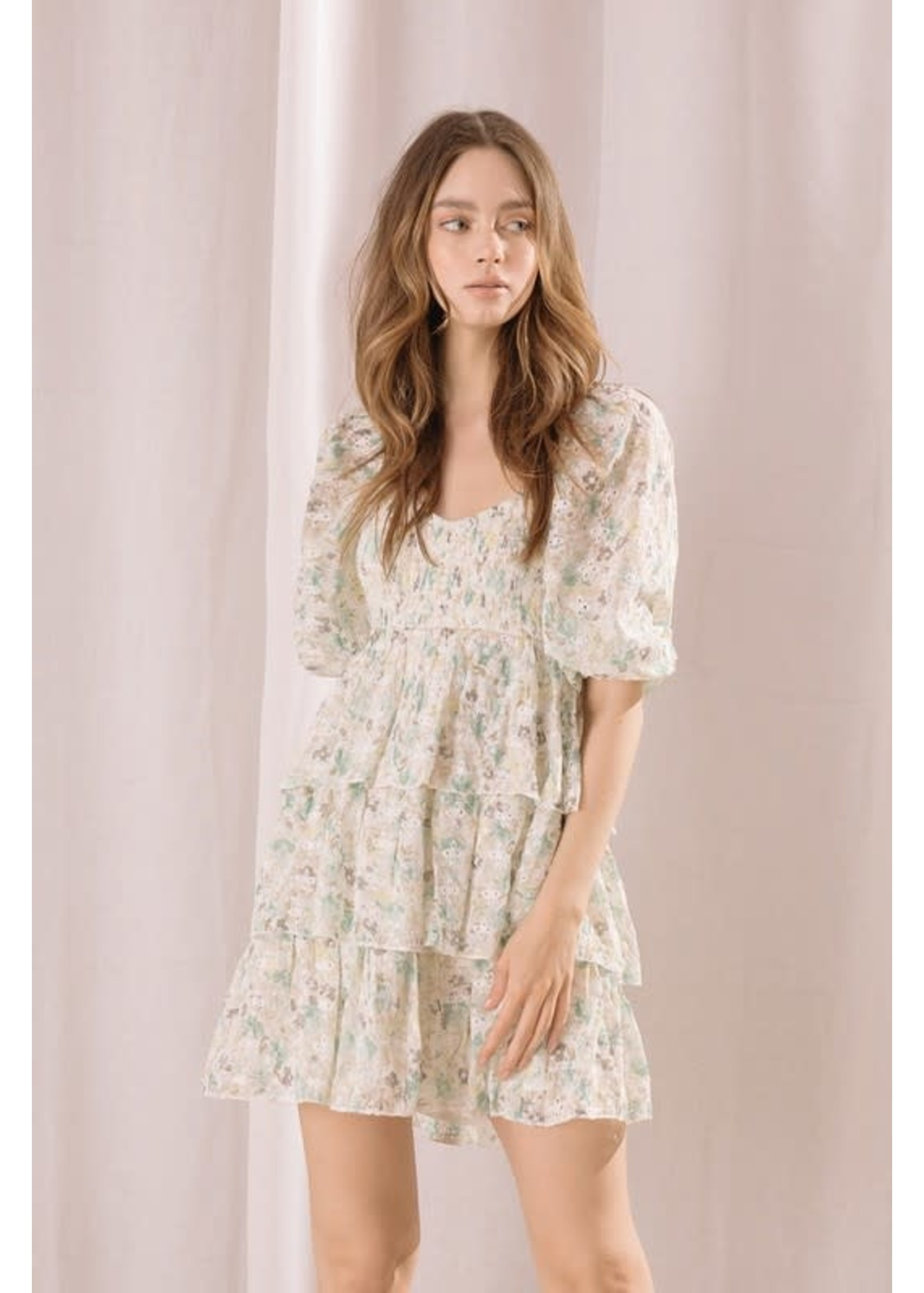 Storia Floral Eyelet Mini Babydoll Dress - JD3155
