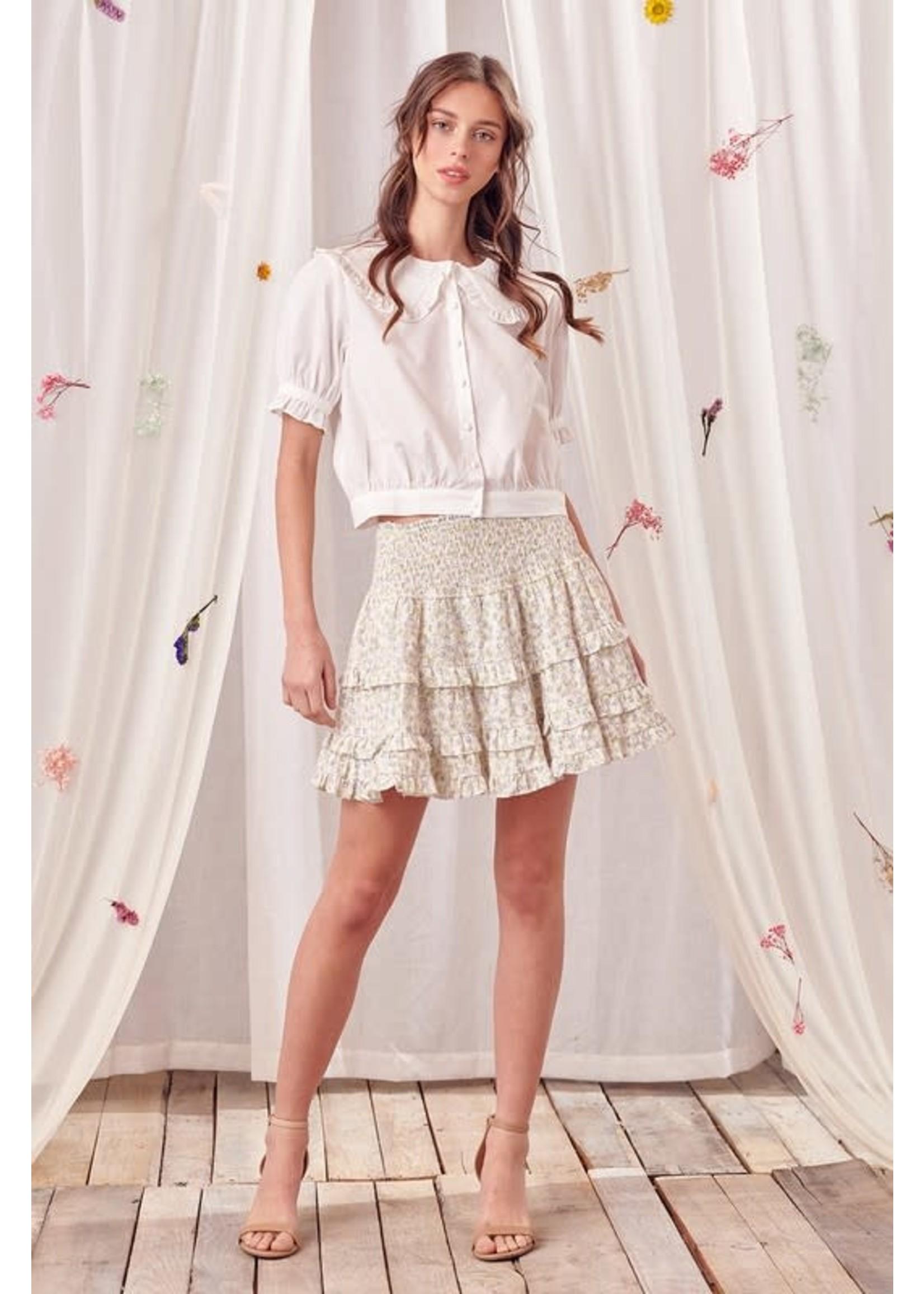 Storia Tiny Floral Print Ruffled Mini Skirt - SS2853