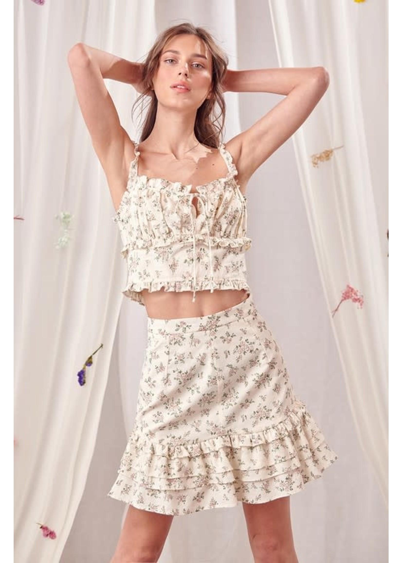 Storia Floral Mini Skirt - JS3216