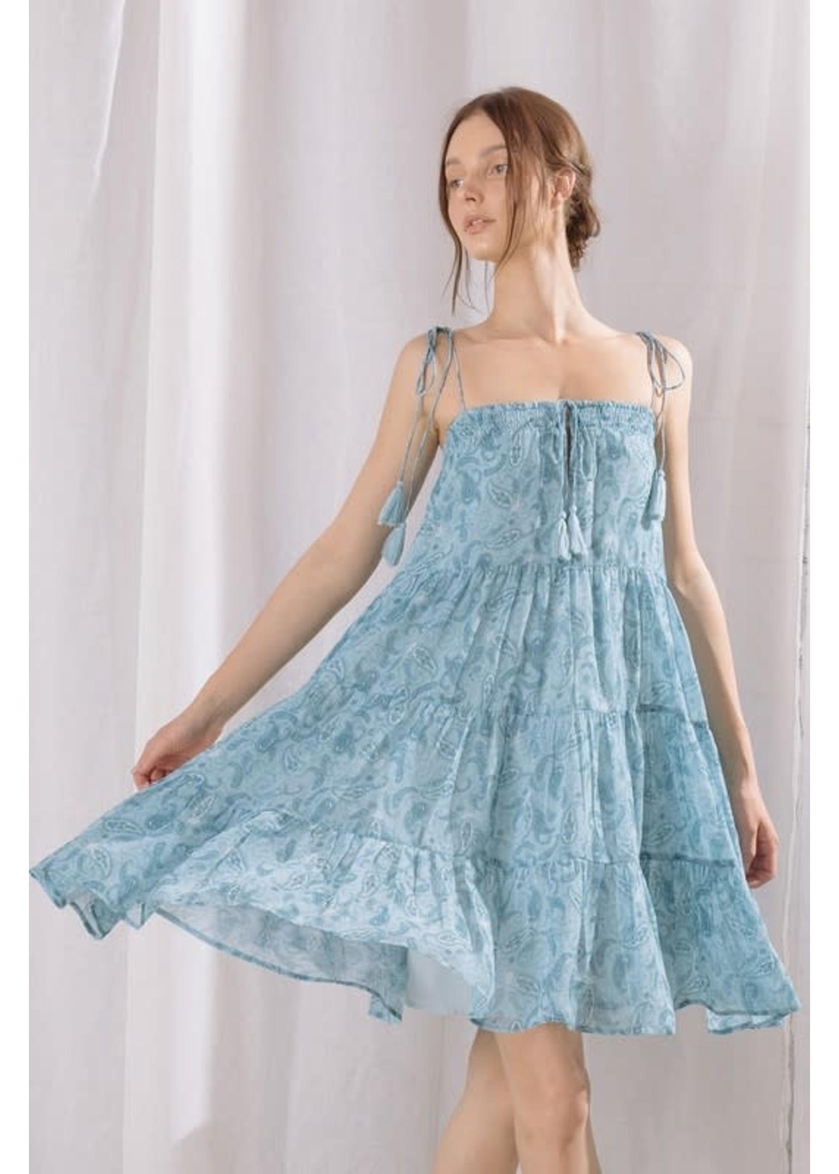 Storia Paisley Ruffled Trapeze Strappy Mini Dress - BD2248B