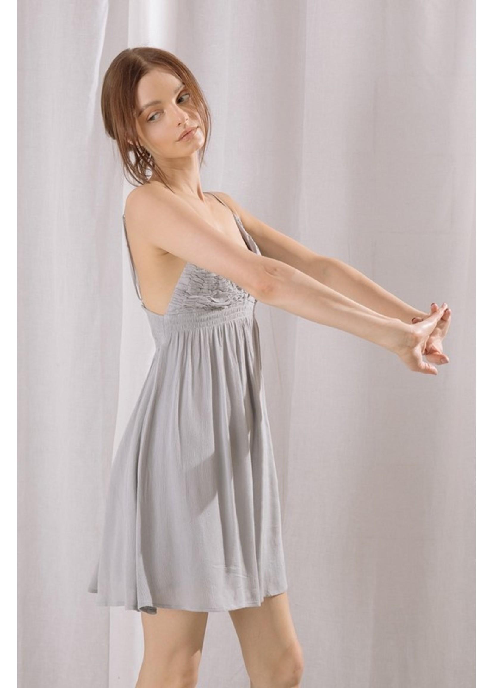 Storia Monochromatic Ruched Mini Dress - SD2908