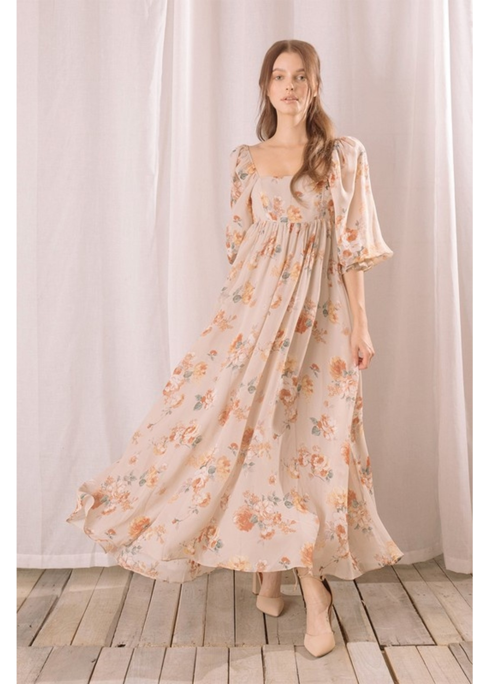 Storia Floral Print Babydoll Maxi Dress - JD2838G