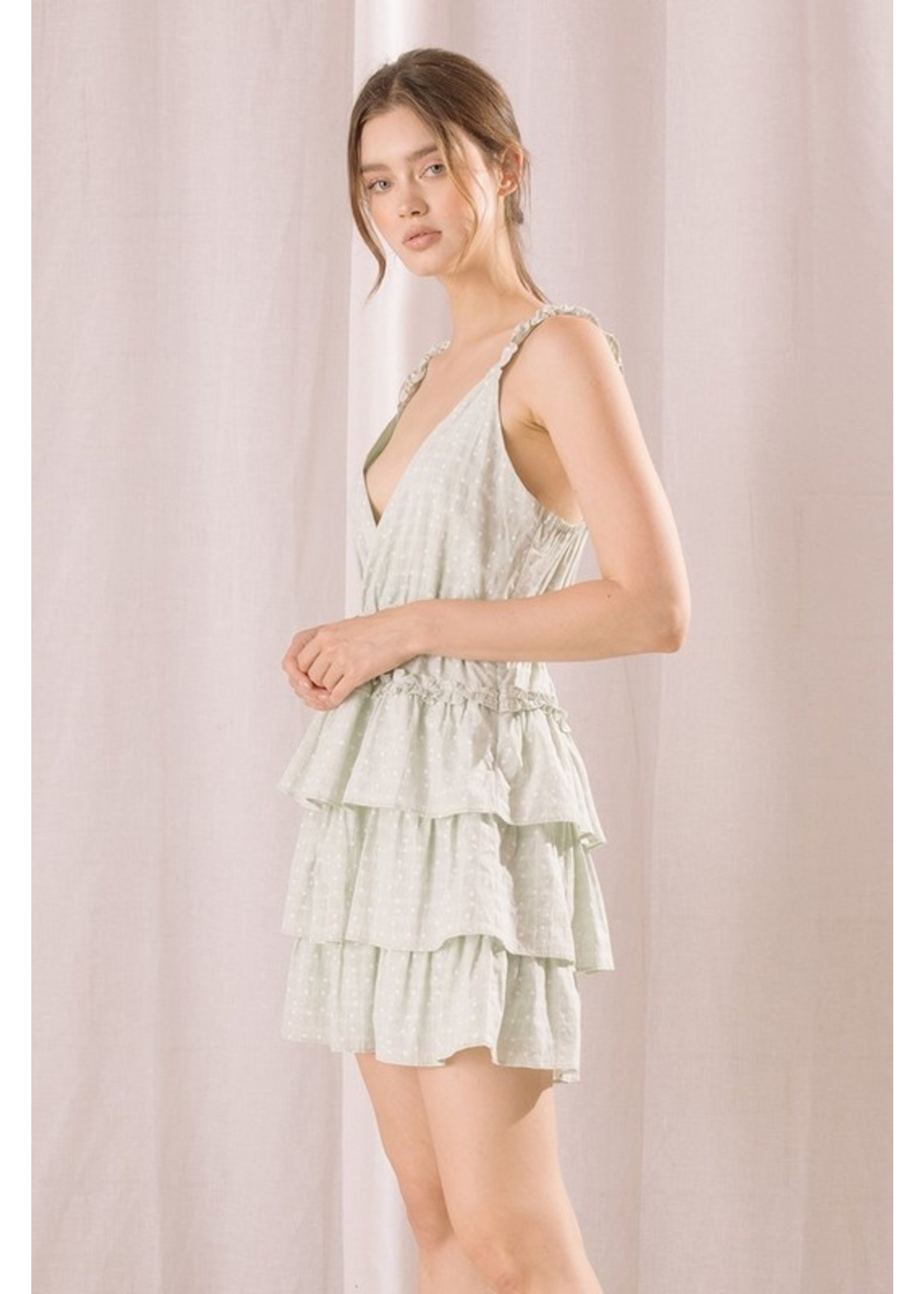 Storia Plaid Star Print Ruffled Mini Dress - JD3273