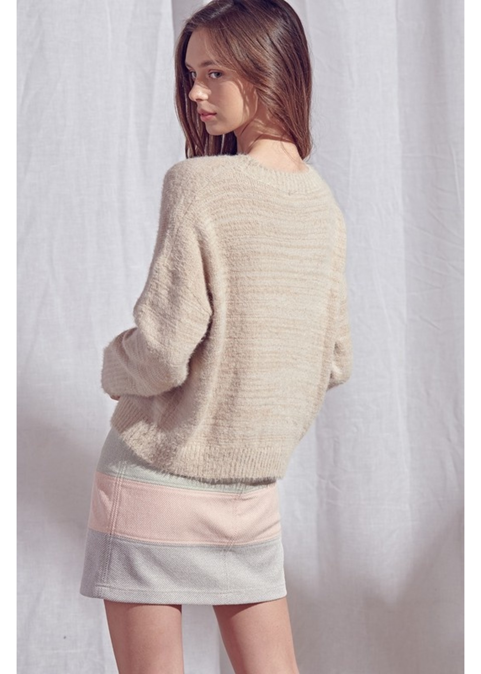 Storia Cable Knit Fuzzy Sweater - JT2971