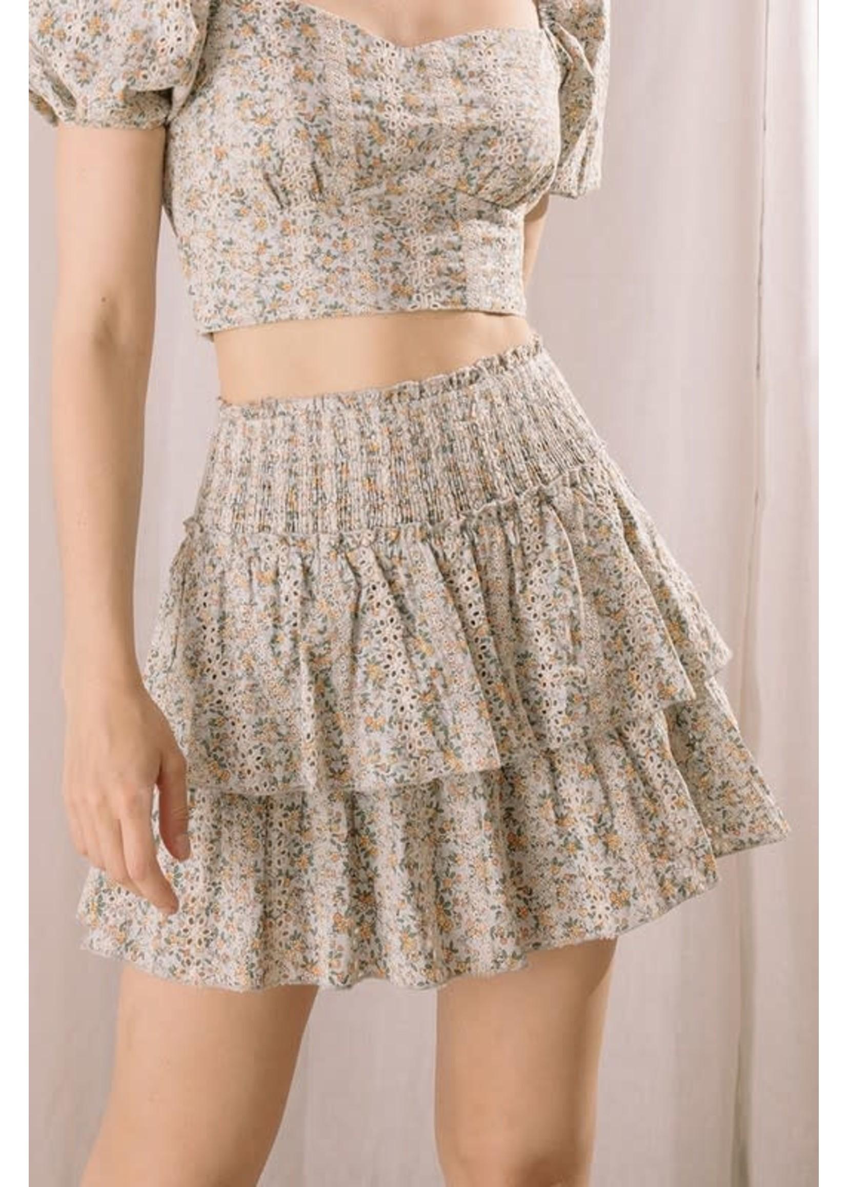 Storia Floral Eyelet Mini Skirt - BS1863A