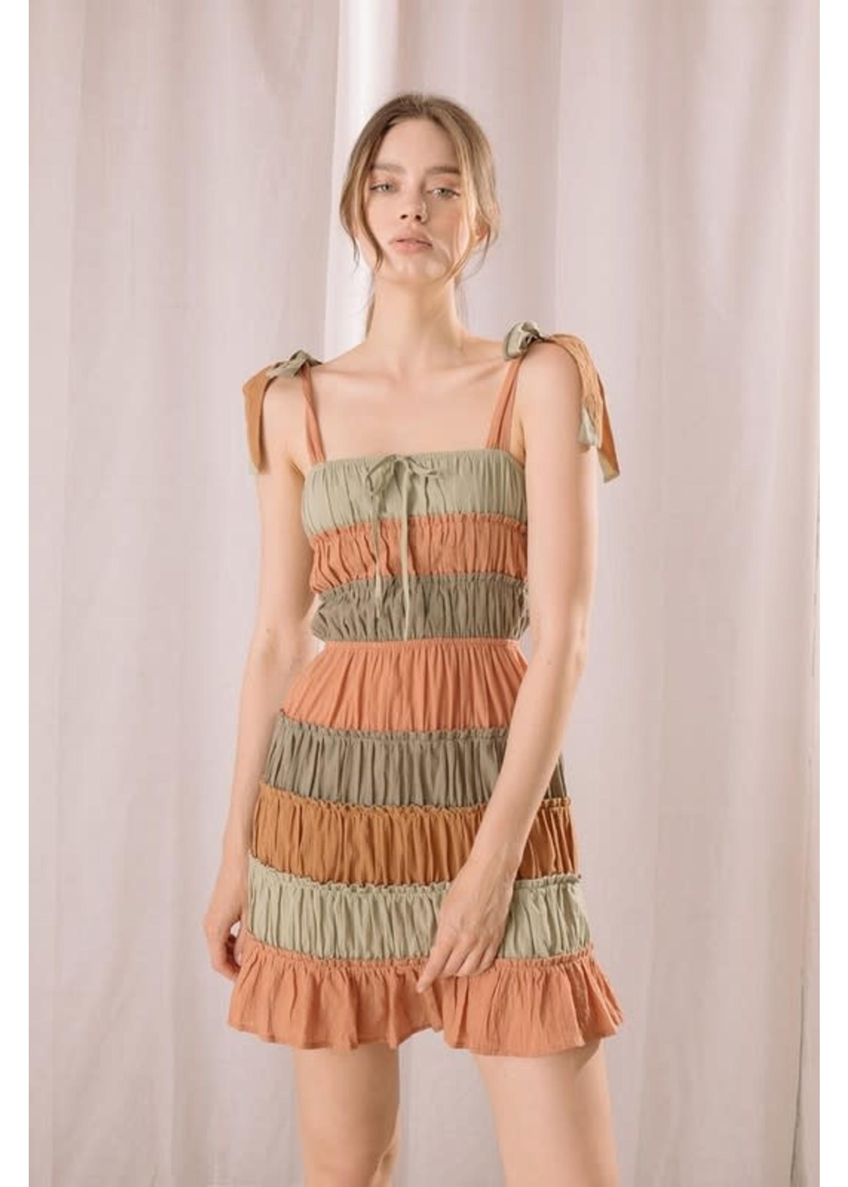 Storia Ruffled Colorblock Mini Dress - JD3365