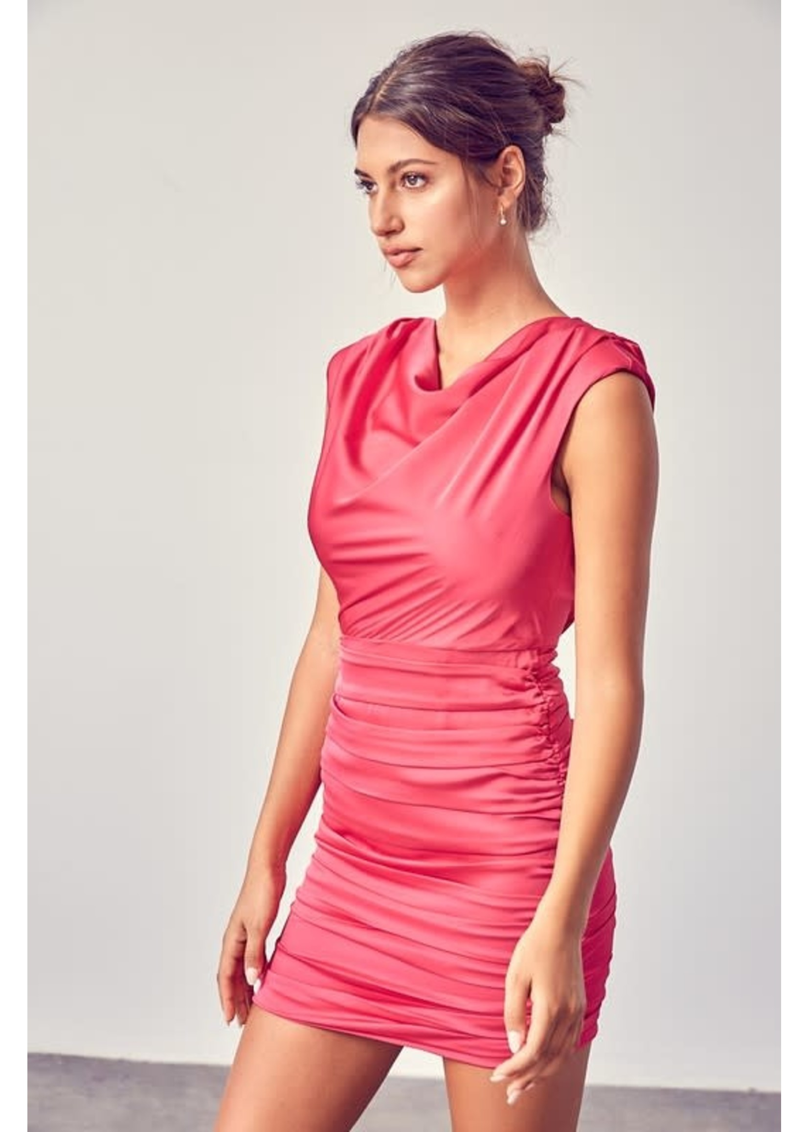 DO + BE High Cowl Neck Ruched Dress - GY0730