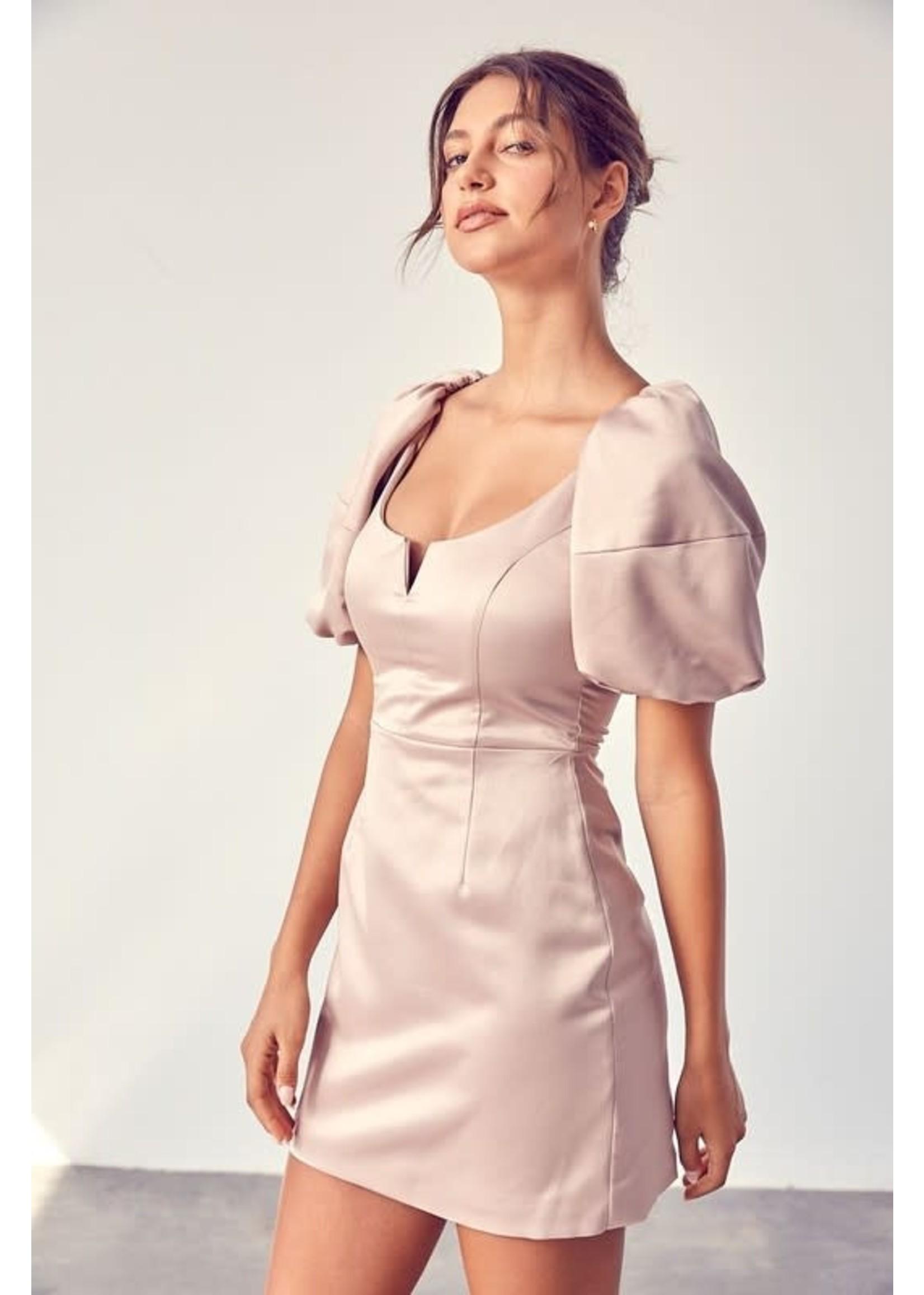 DO + BE 3/4th Puff Sleeve Mini Dress - GY1027