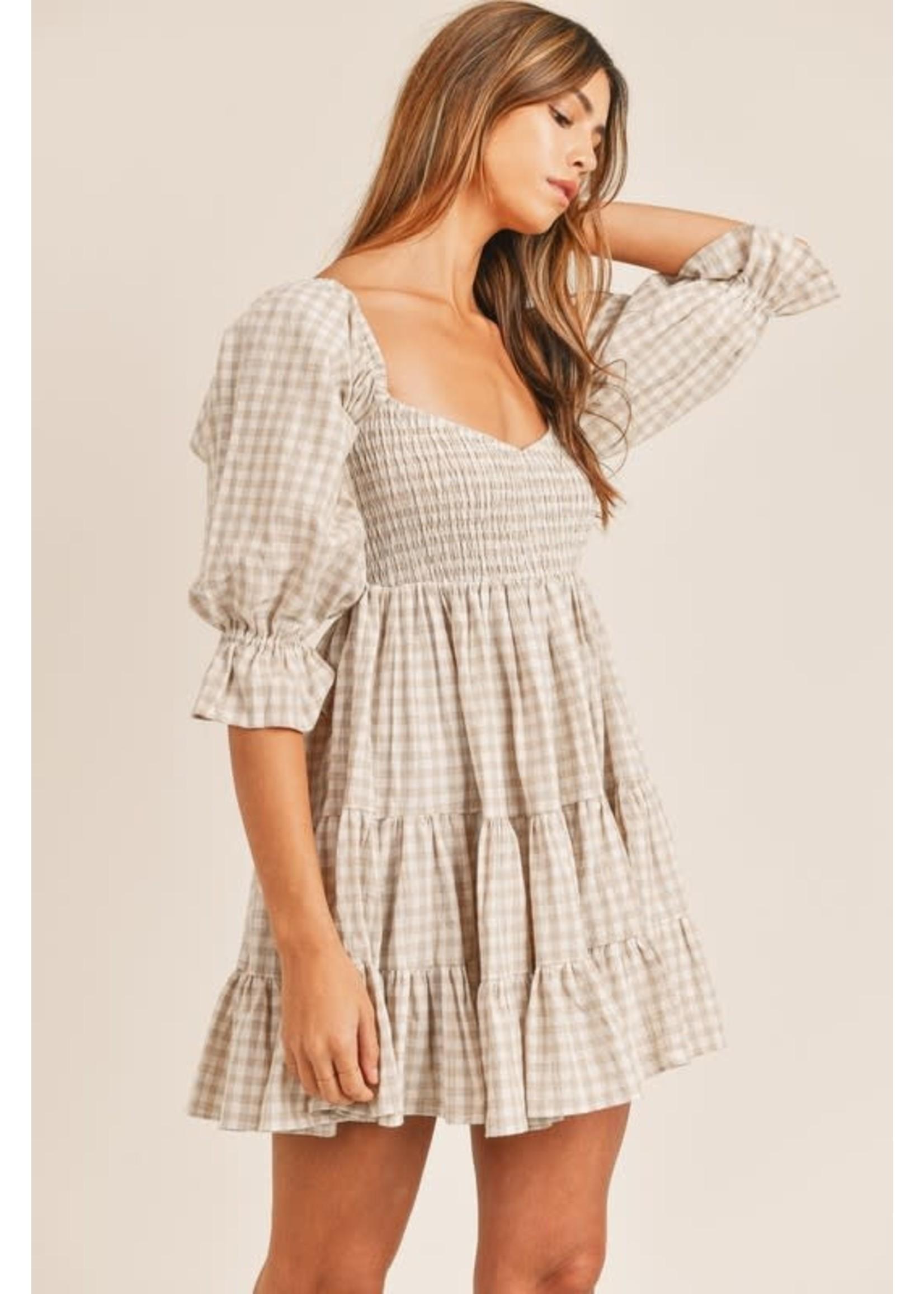 Mable Gingham Ruffled Babydoll Dress - MD2501B