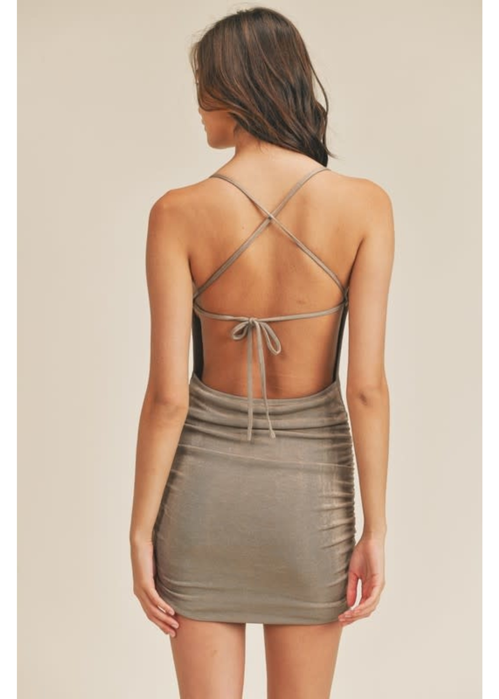 Mable Slinky Side Ruched Open Back Dress - MD2547