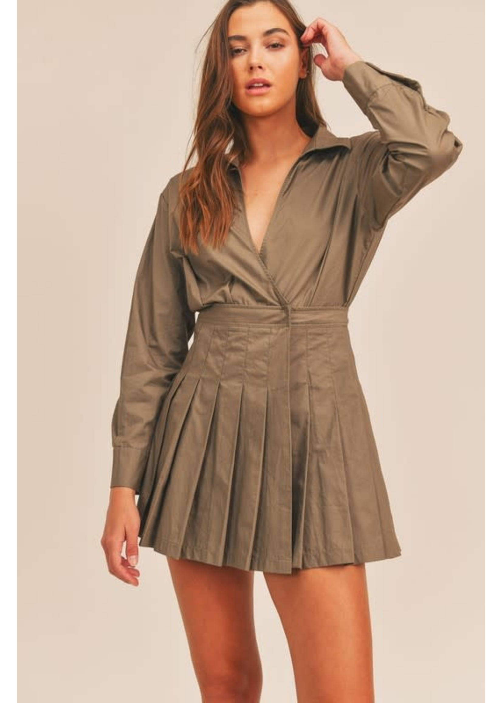Mable Long Sleeved Pleated Dress - MD2717