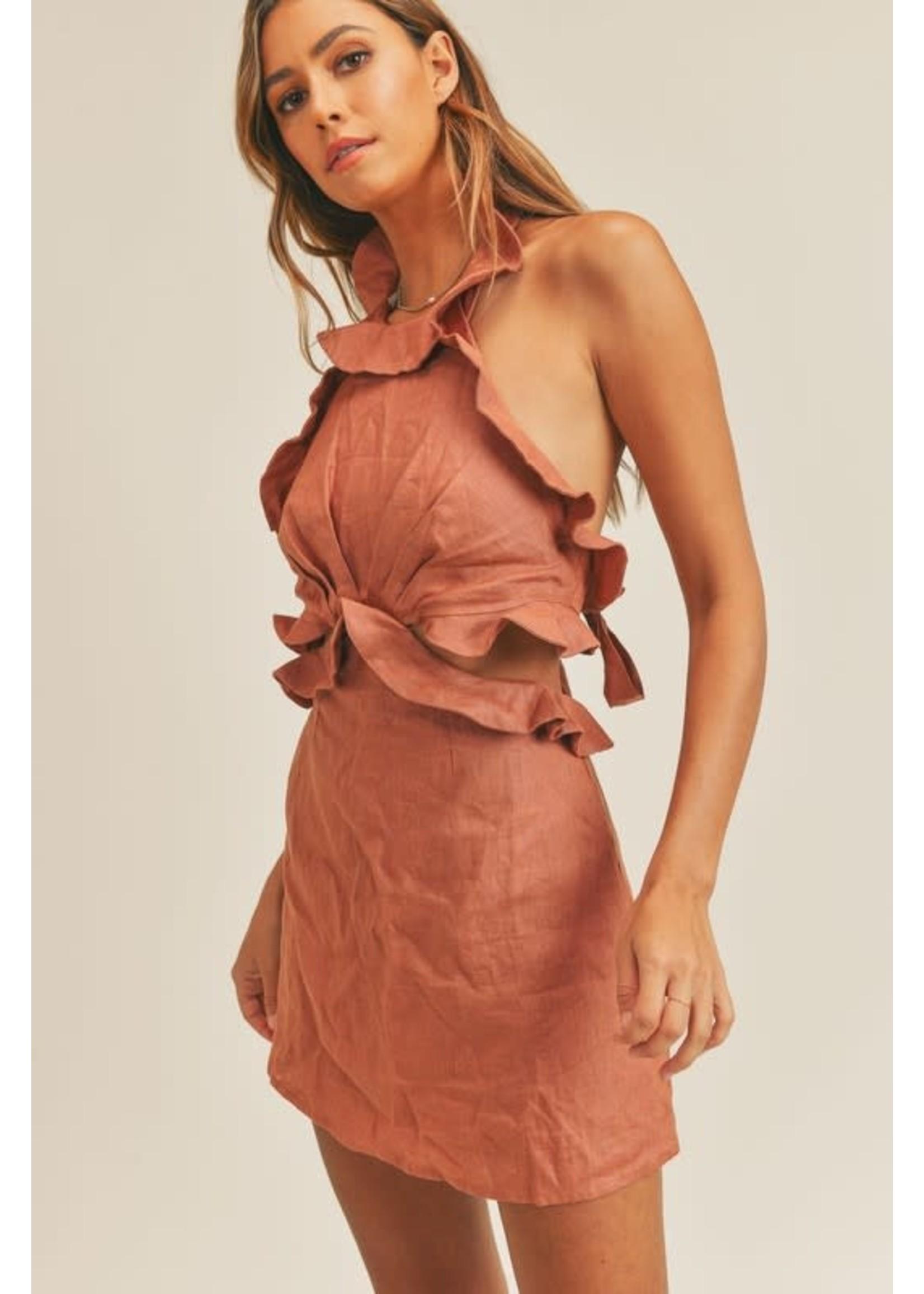 Mable Sleeveless Cut Out Ruffled Mini Dress - MD2728