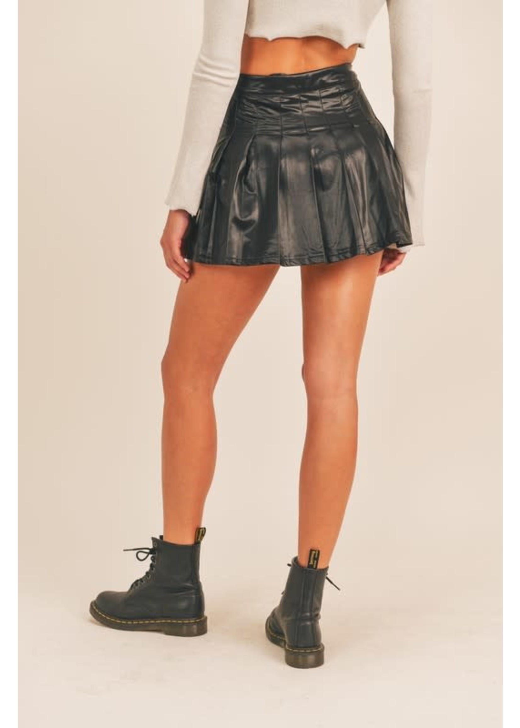 Mable Faux Leather Tennis Skirt - MS5077H