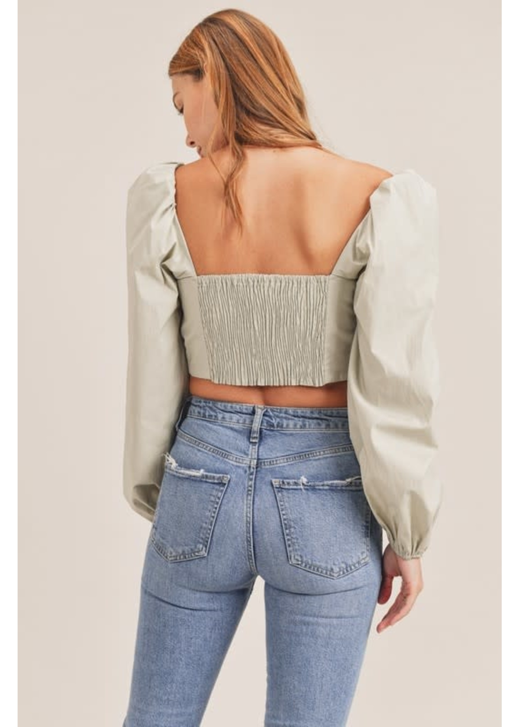 Mable Front Tying Puff Sleeve Crop Top - MT1241