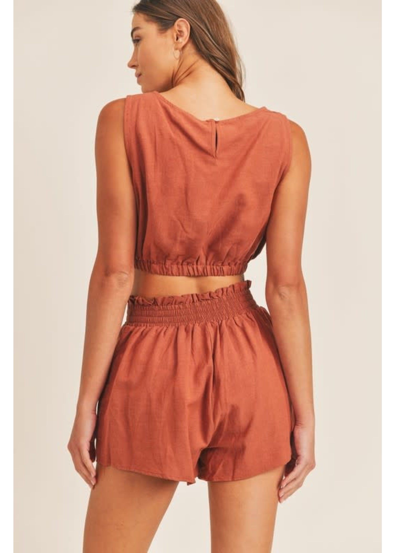 Mable Sleeveless Crop Top and Shorts SET - MST7266