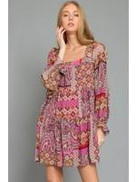 Aakaa Patchwork Tiered Babydoll Dress - DA28129H
