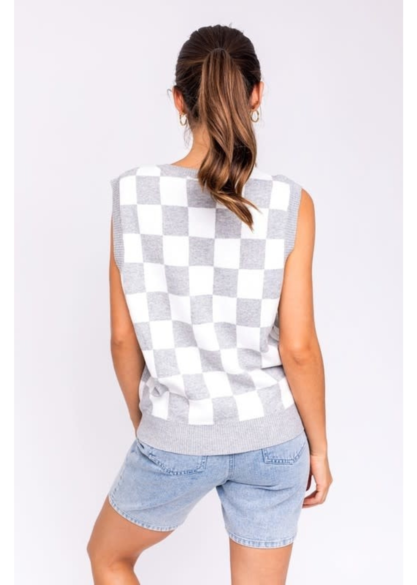 Le Lis Checkered Sweater Vest - IWT1131