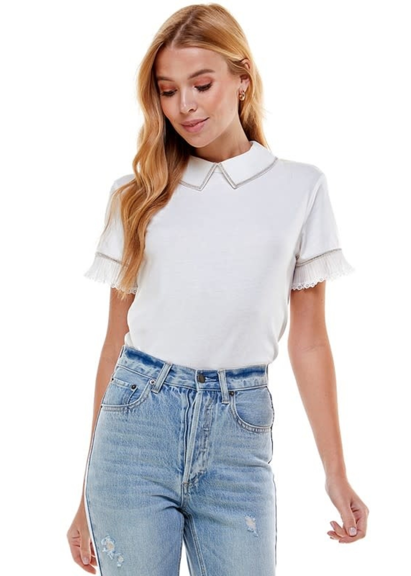 Ontwelfth Detailed Collared T-Shirt With Ruffled Sleeves -1236432