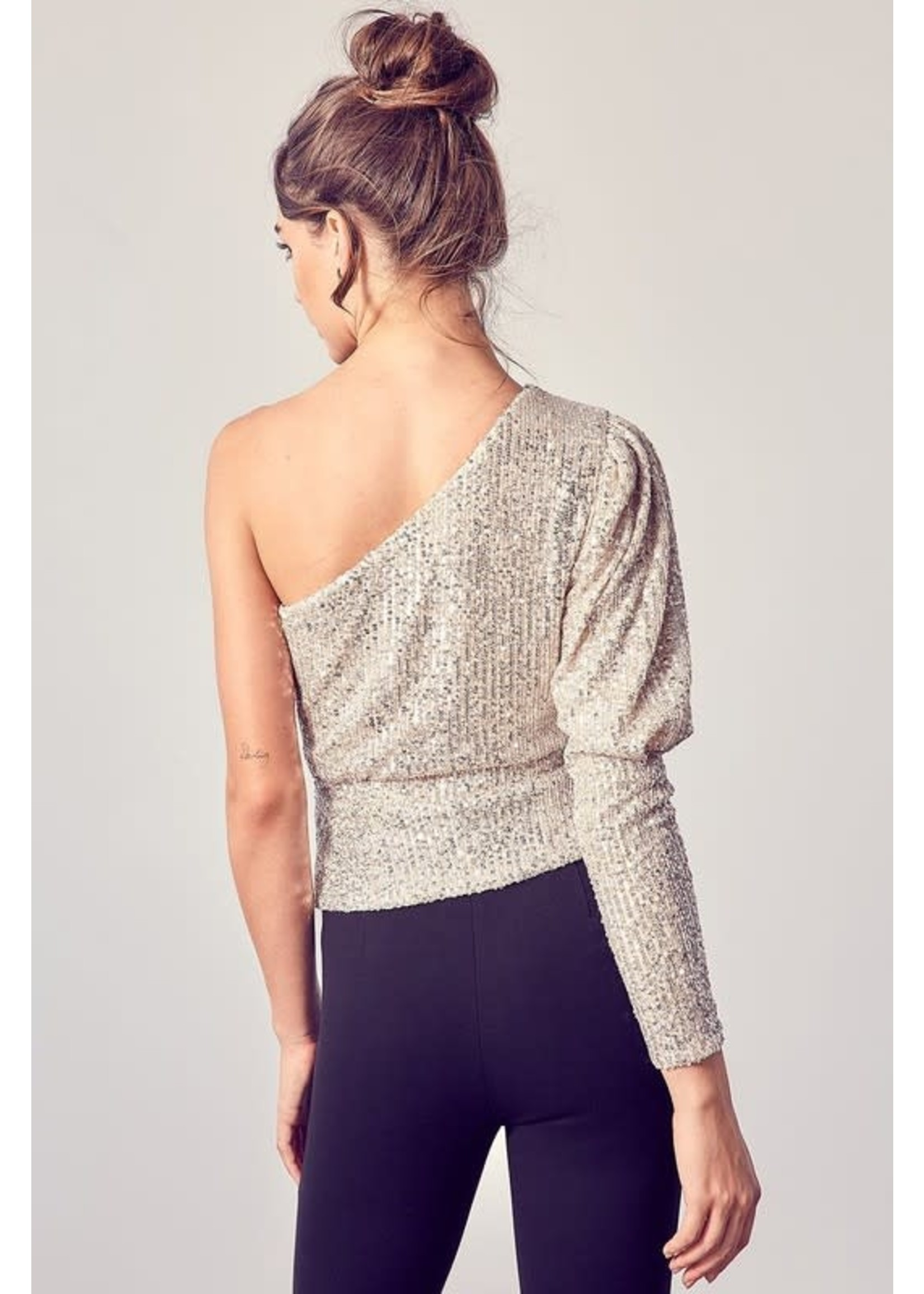 DO + BE One Shouldered Sequined Drape Top - Y20720