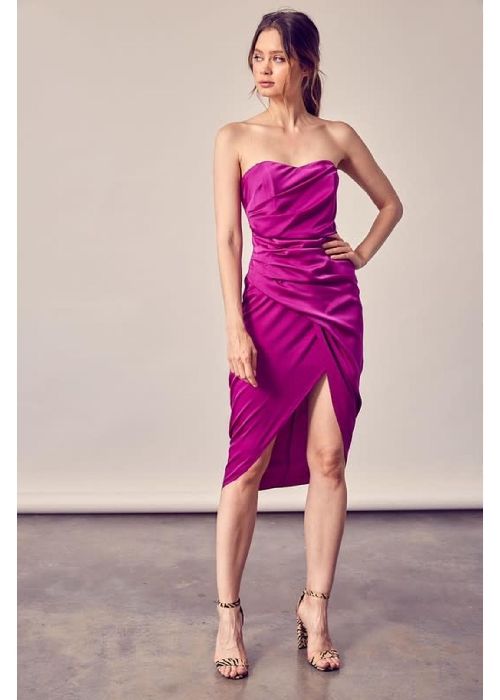 DO + BE Tulip Skirt Strapless Wrap Midi Dress - GY1158