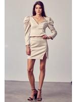 DO + BE Snake Print Side Slit Mini Skirt - Y20732