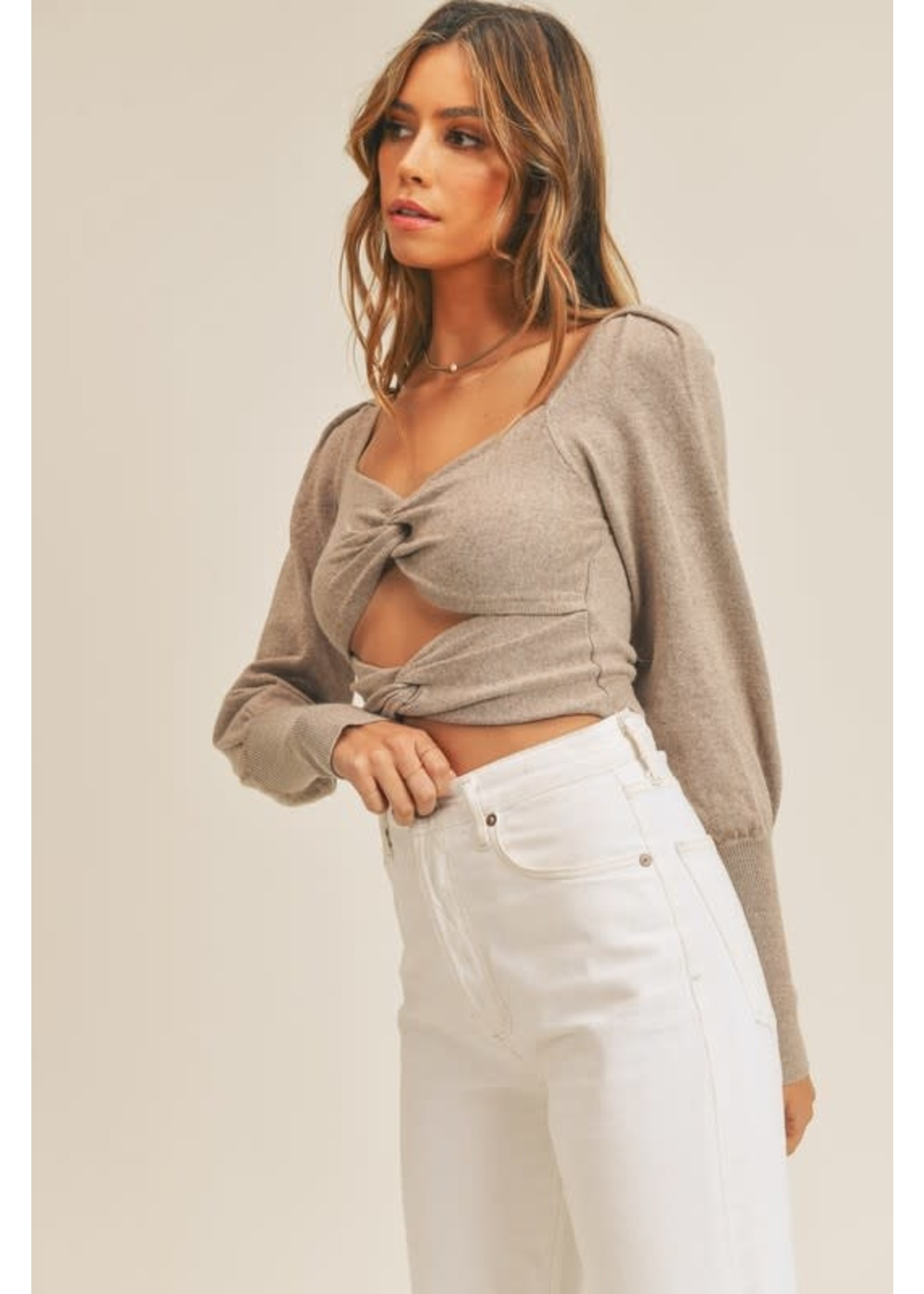 Mable Long Sleeved Cutout Front Twist Crop Top - MT1340