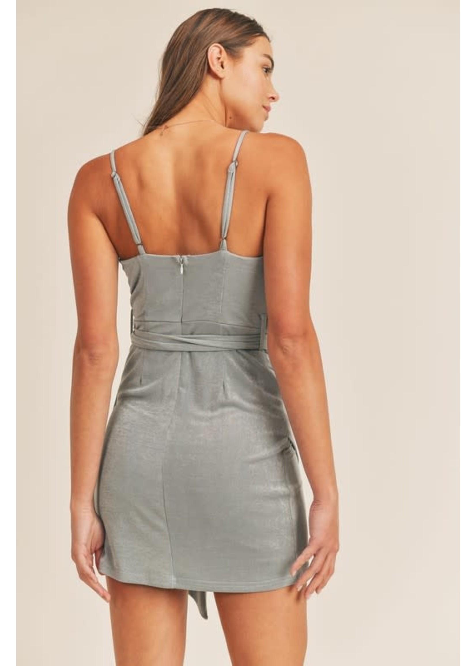 Mable Cowl Neck Bodycon Slinky Mini Dress - MD2584