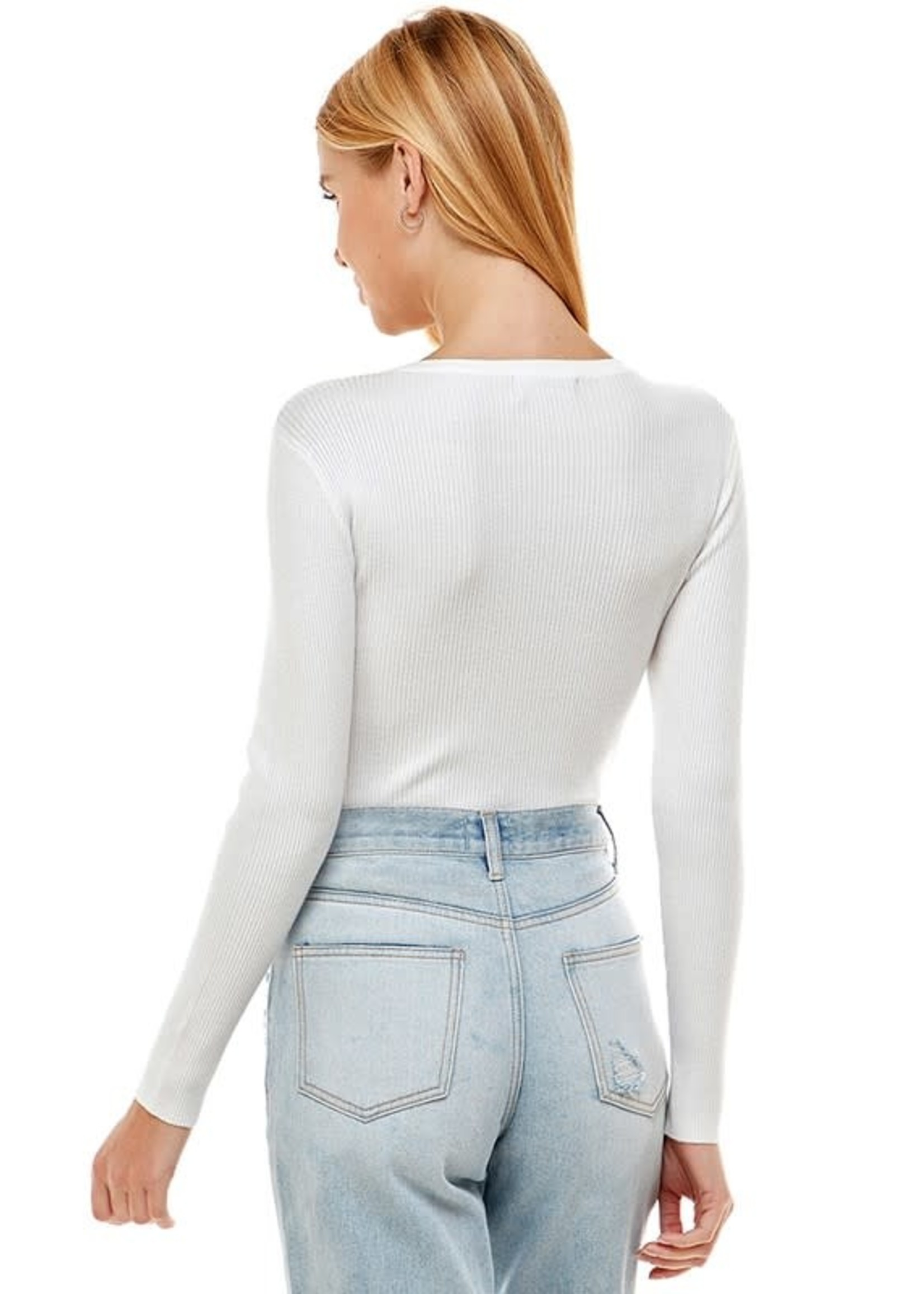 Ontwelfth Blinged Long Sleeved Square Neck Top - 1222498