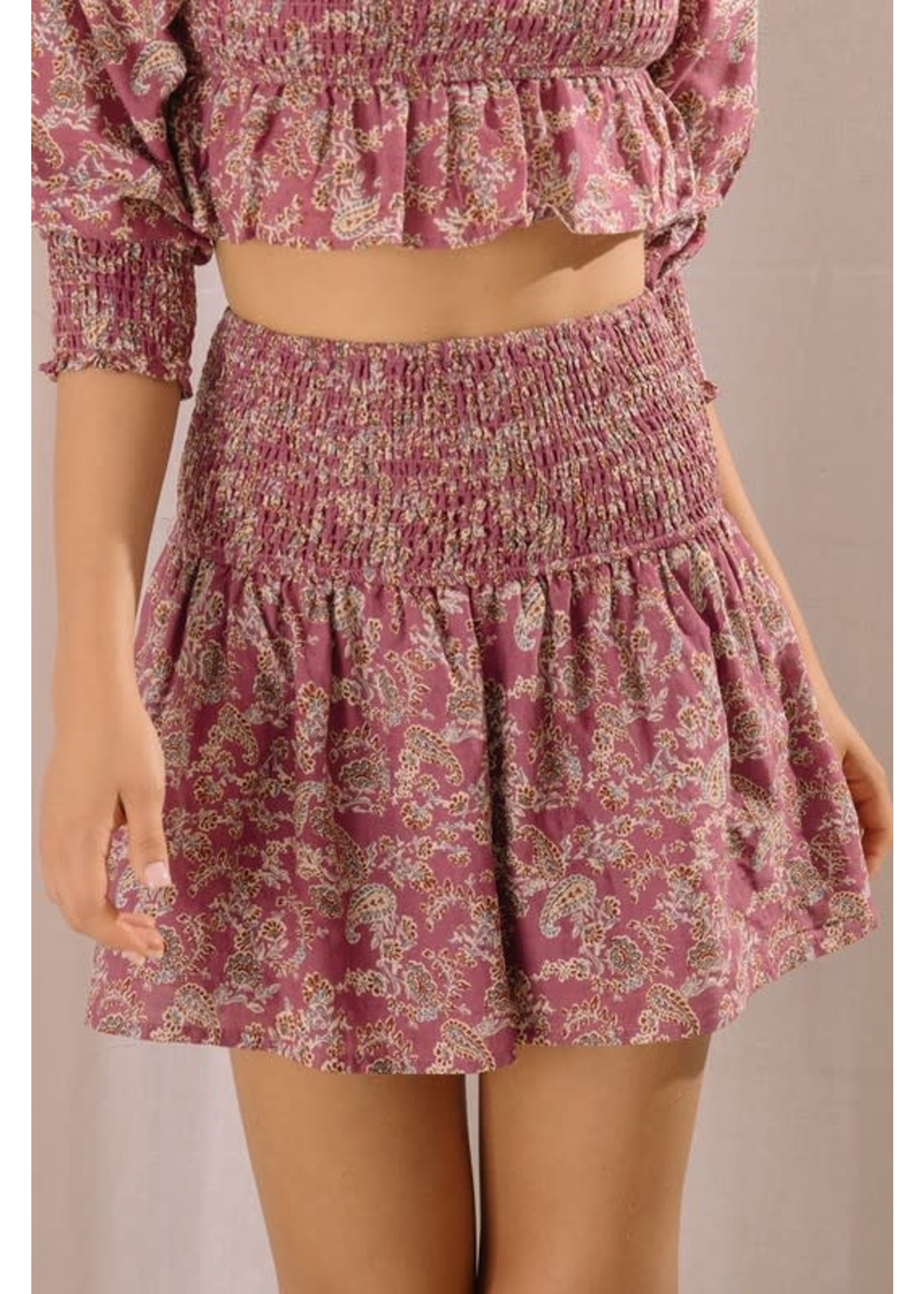 Storia Paisley Smocked Mini Skirt - JS3467