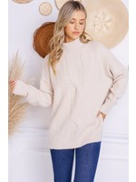 Charlotte Avery Chunky Mock Neck Detailed Sweater - H299