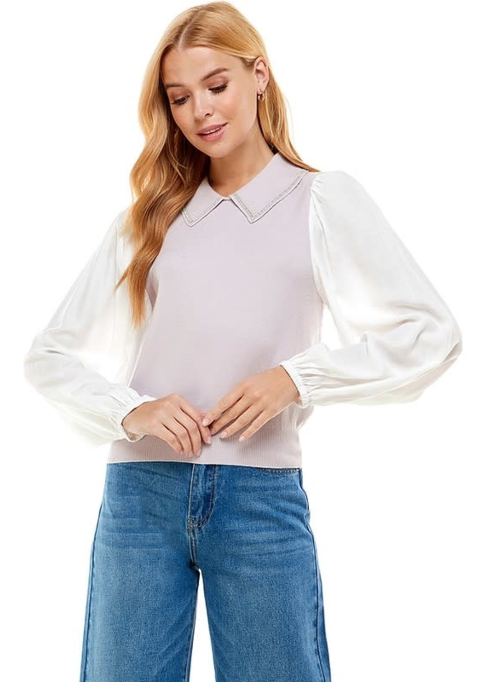 Ontwelfth Contrast Collared Puff Sleeve Knit Top - 1222634