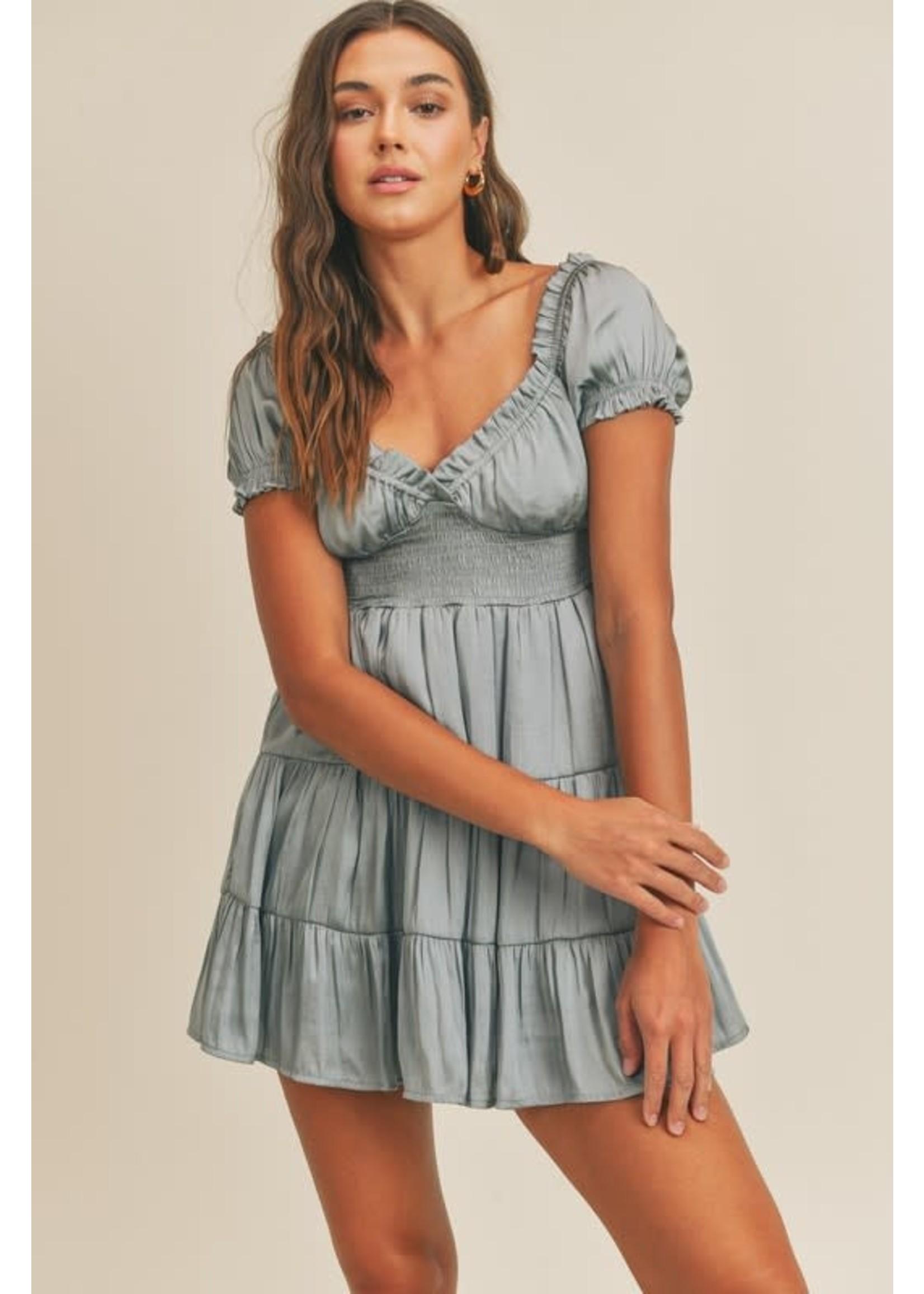 Mable Satiny Ruffled Babydoll Mini Dress - MD2763A