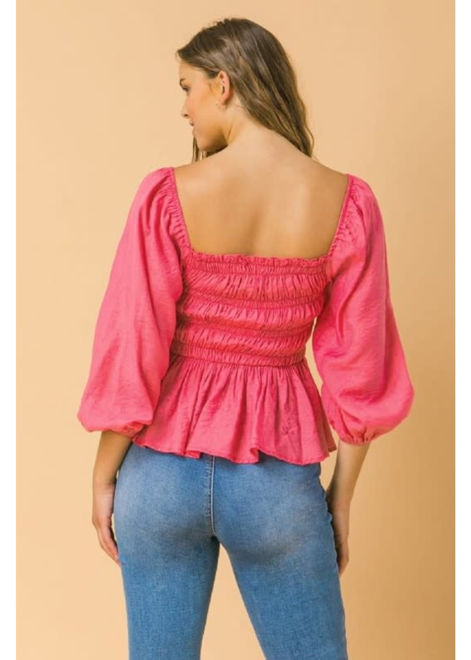Flying Tomato Smocked Square Neck Peplum Top - AT1961
