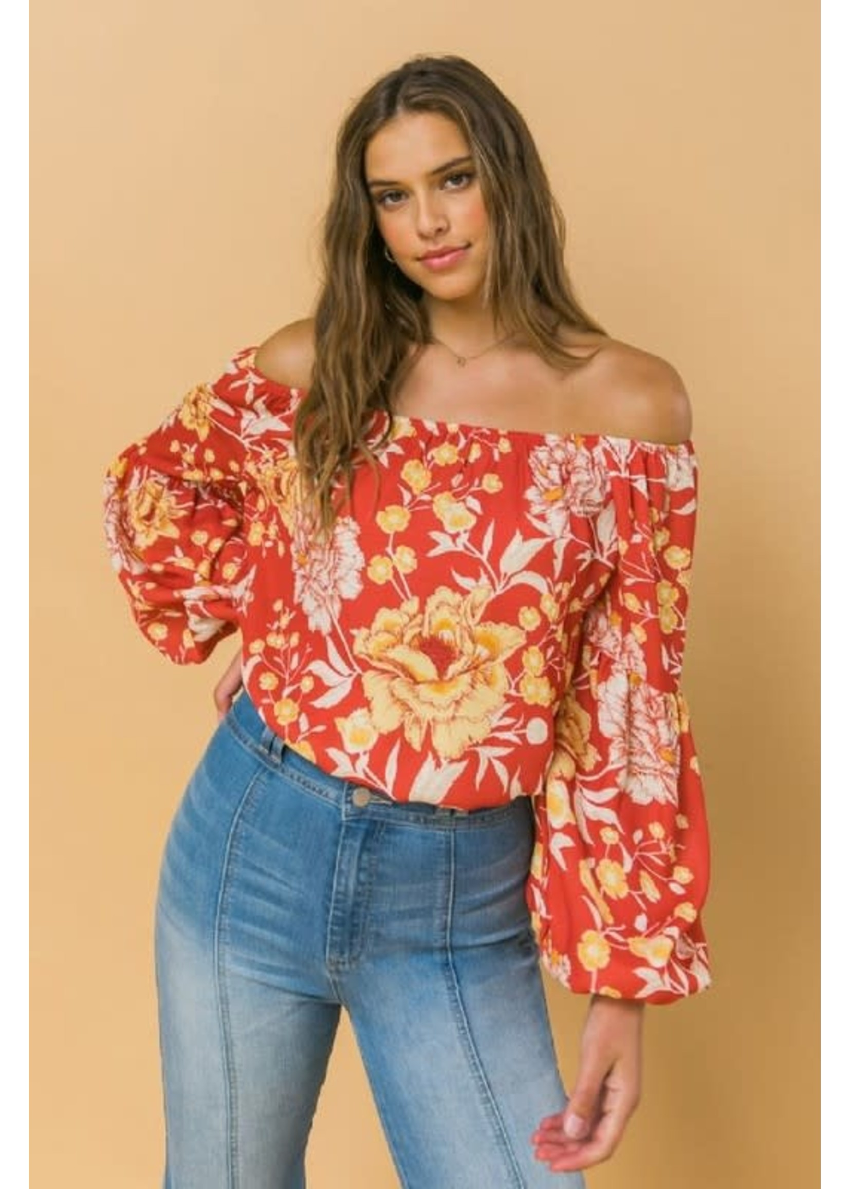 Flying Tomato Off The Shoulder Floral Elastic Top - IT11469