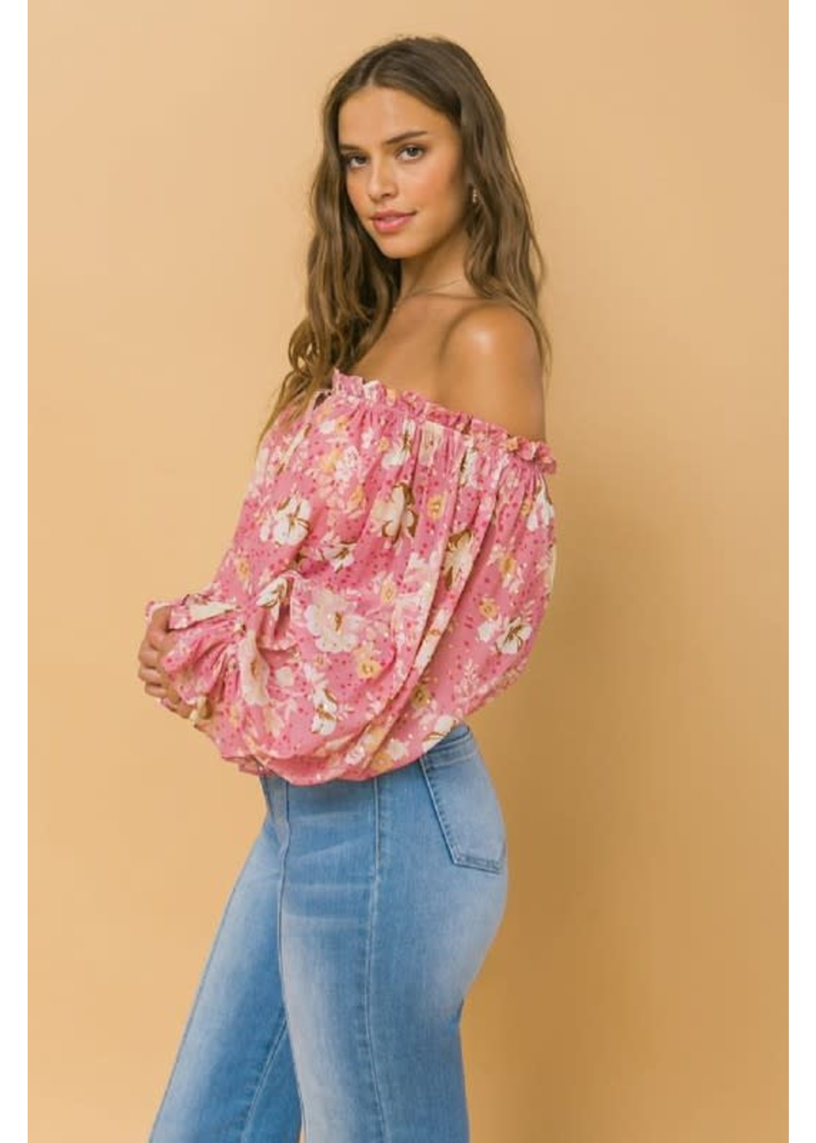 Flying Tomato Off The Shoulder Floral Chiffon Blouse - LT1159
