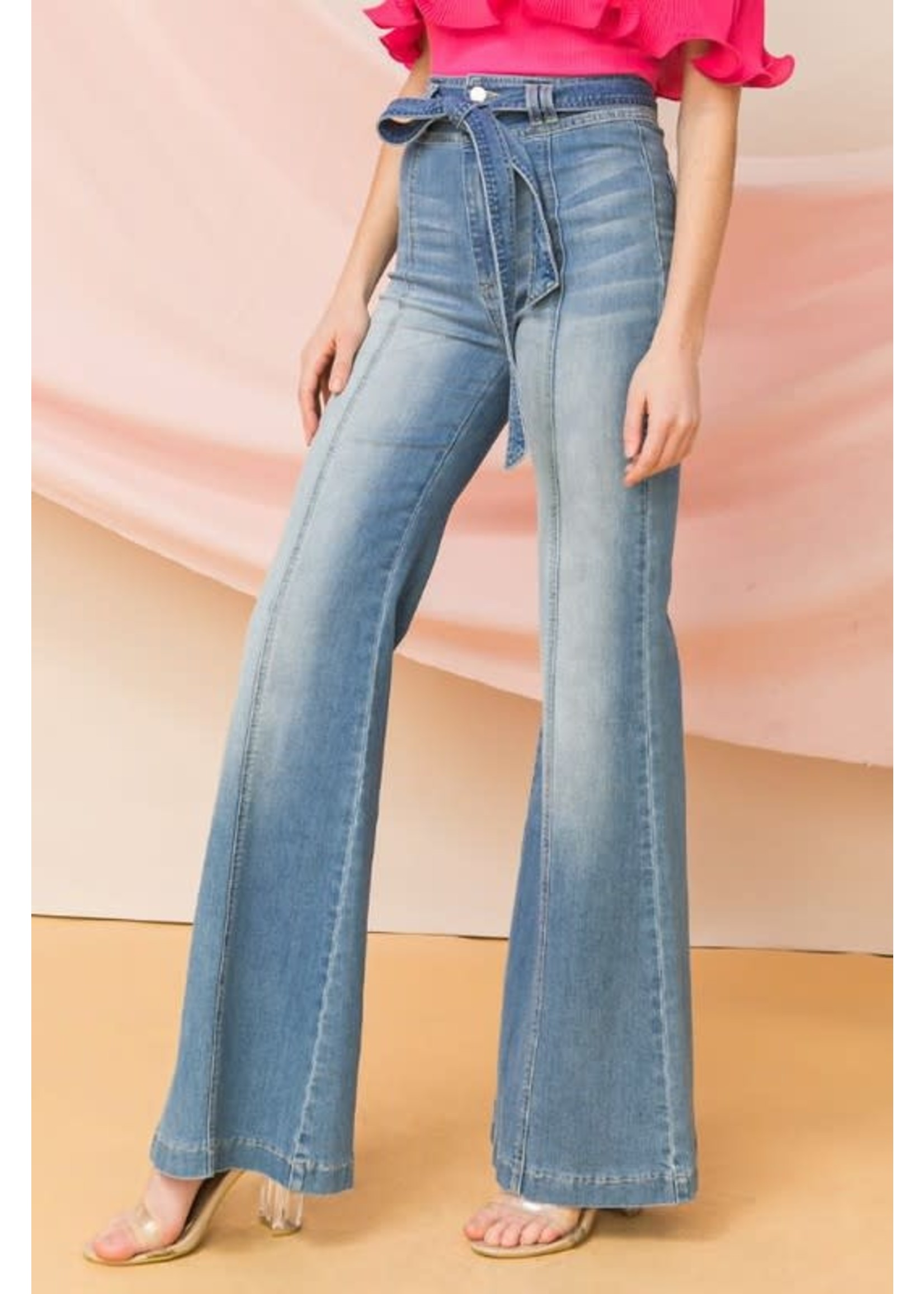 Flying Tomato High-Waisted Bell Bottom Jeans With Tieable Belt - AP1357-B