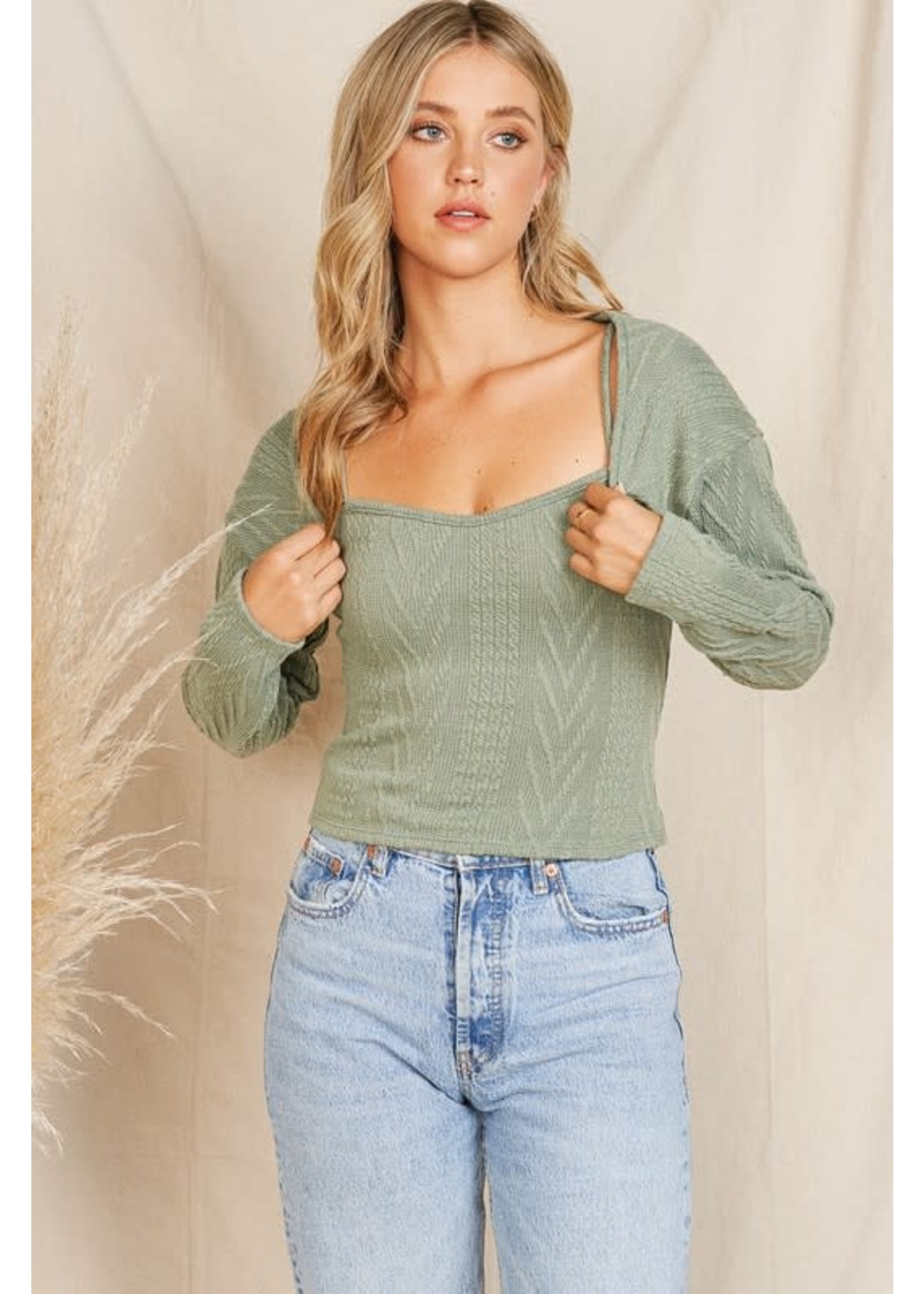 Charlotte Avery Cable Knit Tank Top & Shrug Sweater SET  - 11435