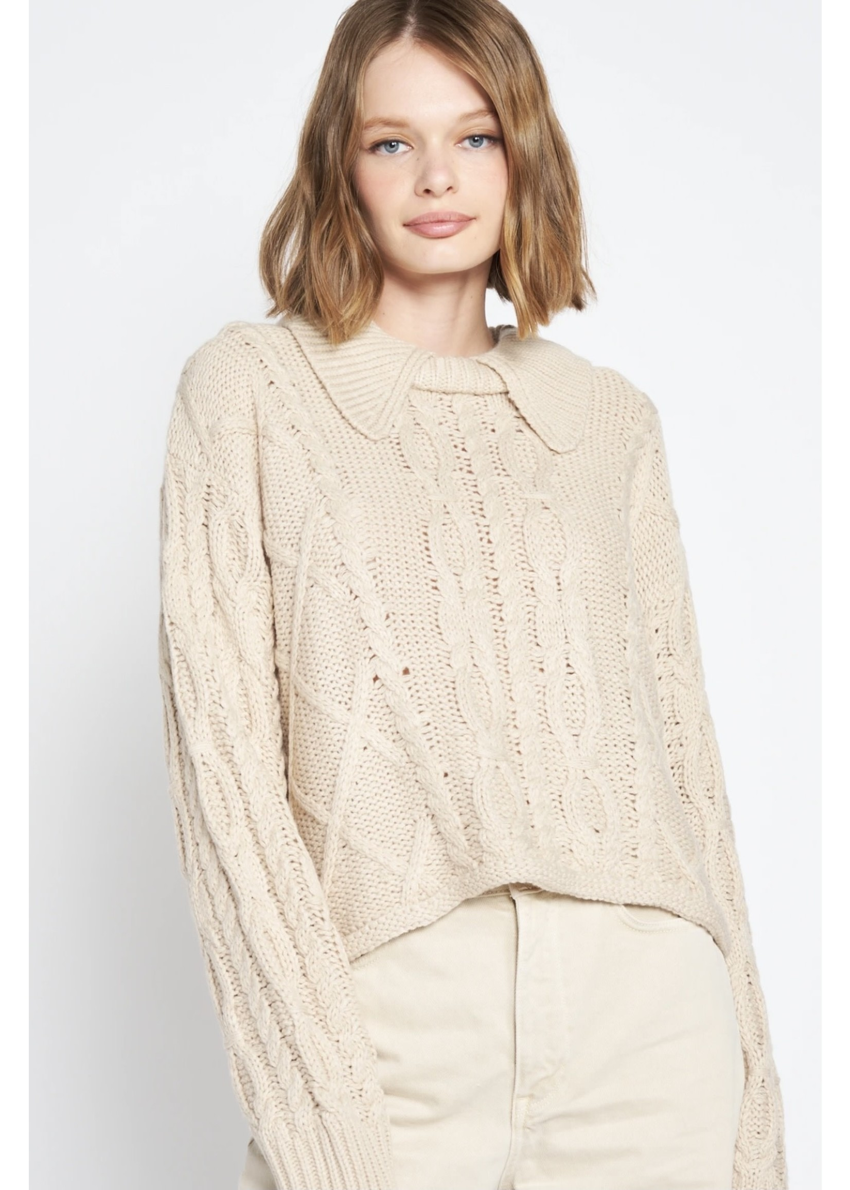 En Saison Chunky Knit Collared Pullover Sweater - IES2078T
