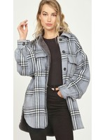 Vintage Havana Plaid Fur Shearling Oversized Shirt Jacket - CC9728