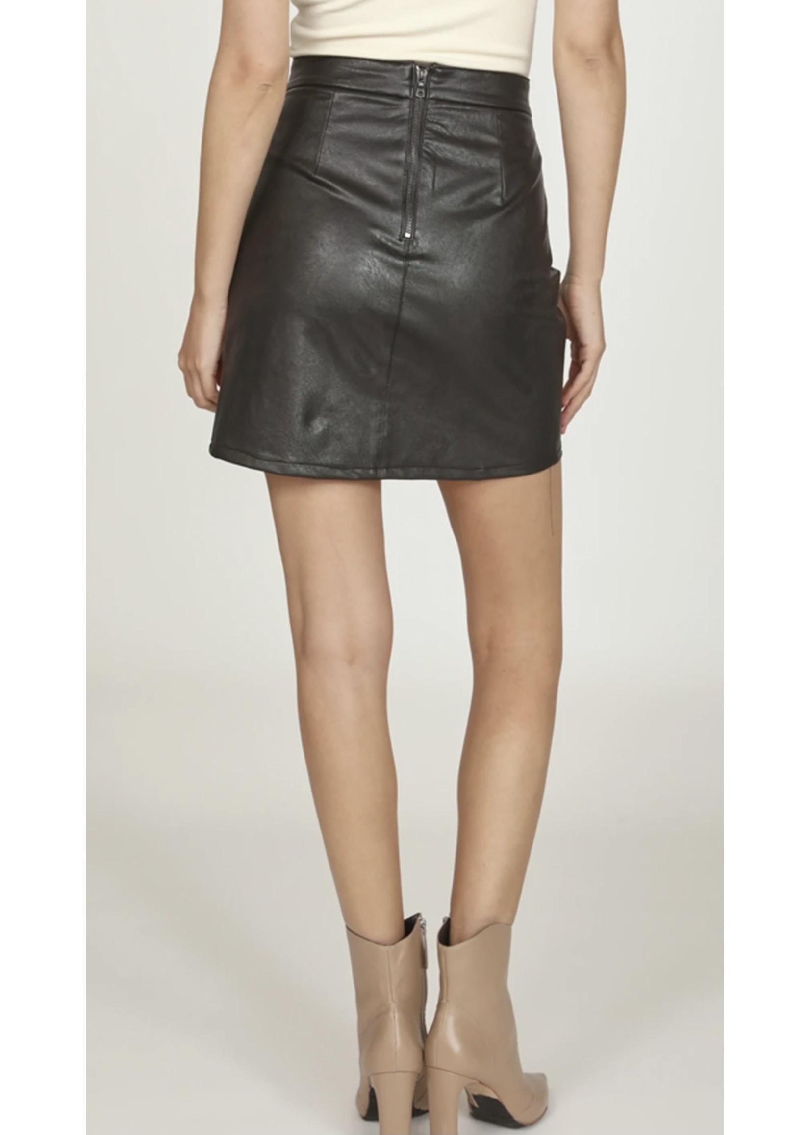 Vintage Havana Faux Leather Skirt - R9953