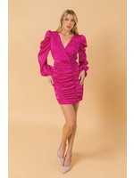 Flying Tomato Ruched Long Puff Sleeve V-Neck Wrap Dress - JD7132