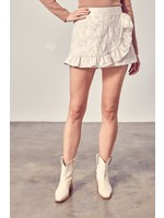 DO + BE Rose Embroidered Ruffled Shorts - Y21064